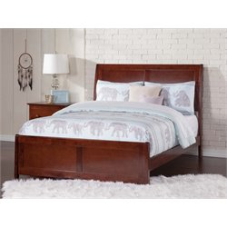 Atlantic Furniture Portland Sleigh Platform Bed in Walnut (B)