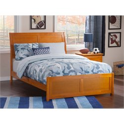 Atlantic Furniture Portland Sleigh Platform Bed in Caramel Latte (B)