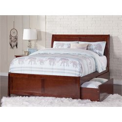 Atlantic Furniture Portland Urban Storage Sleigh Platform Bed in Walnut (B)