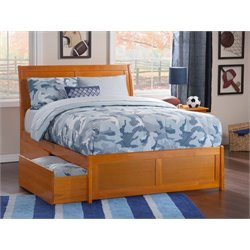 Atlantic Furniture Portland Urban Storage Sleigh Platform Bed in Caramel Latte (B)