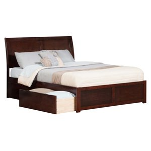 Atlantic Furniture Portland Urban Storage Sleigh Platform Bed in Walnut (A)