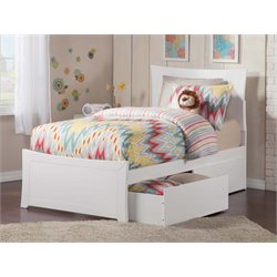 Atlantic Furniture Metro Urban Storage Panel Platform Bed in White (B)