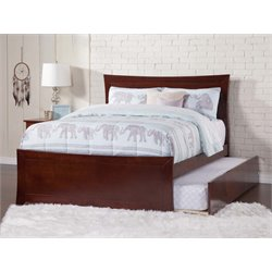 Atlantic Furniture Metro Urban Trundle Panel Platform Bed in Walnut (B)