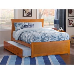 Atlantic Furniture Metro Urban Trundle Panel Platform Bed in Caramel Latte (B)