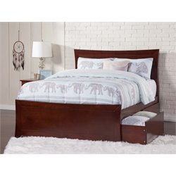 Atlantic Furniture Metro Urban Storage Panel Platform Bed in Walnut (B)
