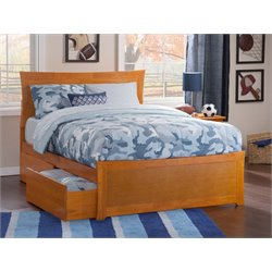 Atlantic Furniture Metro Urban Storage Panel Platform Bed in Caramel Latte (B)