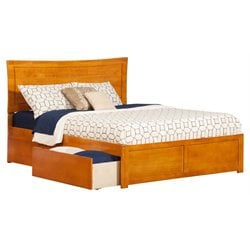 Atlantic Furniture Metro Urban Storage Panel Platform Bed in Caramel Latte (A)