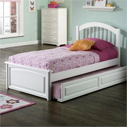 Atlantic Furniture Windsor Platform Bed with Raised Panel Footboard in White Finish - Twin