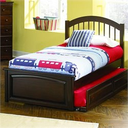 Atlantic Furniture Windsor Platform Bed with Raised Panel Footboard in Antique Walnut Finish - Twin