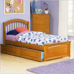 Atlantic Furniture Windsor Platform Bed with Raised Panel Footboard in Caramel Latte Finish - Twin