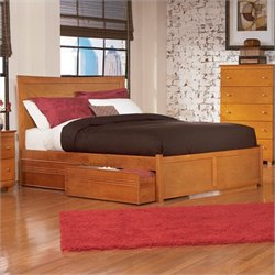 Atlantic Furniture Miami Modern Platform Bed with Flat Panel Footboard in Caramel Latte - King