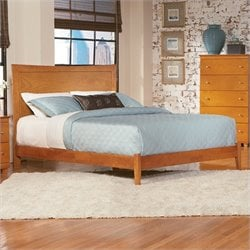 Atlantic Furniture Miami Modern Platform Bed with Open Footrail in Caramel Latte - Full