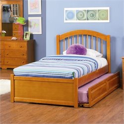 Atlantic Furniture Windsor Platform Bed with Flat Panel Footboard in Caramel Latte - Twin