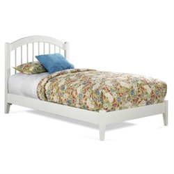 Atlantic Furniture Windsor Platform Bed with Open Footrail in White - Twin