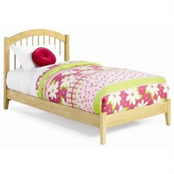 Atlantic Furniture Windsor Platform Bed with Open Footrail in Natural Maple - King