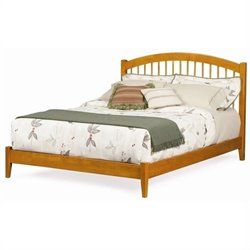 Atlantic Furniture Windsor Platform Bed with Open Footrail in Caramel Latte - Full