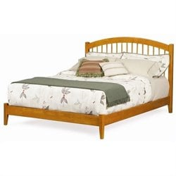 Atlantic Furniture Windsor Platform Bed with Open Footrail in Caramel Latte - King