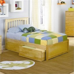 Atlantic Furniture Brooklyn Platform Bed with Flat Panel Footboard in Natural Maple - King