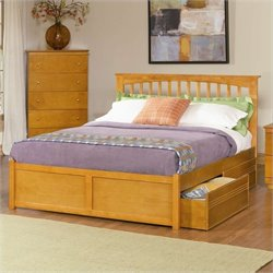 Atlantic Furniture Brooklyn Platform Bed with Flat Panel Footboard in Caramel Latte - Twin