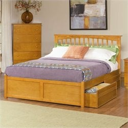 Atlantic Furniture Brooklyn Platform Bed with Flat Panel Footboard in Caramel Latte - King