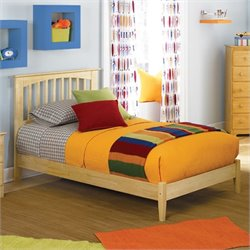 Atlantic Furniture Brooklyn Platform Bed with Open Footrail in Natural Maple - Twin