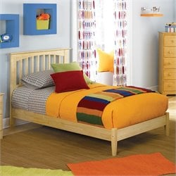 Atlantic Furniture Brooklyn Platform Bed with Open Footrail in Natural Maple - Full