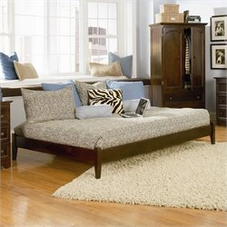 Atlantic Furniture Concord Platform Bed with Open Footrail in Antique Walnut - Full