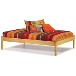 Atlantic Furniture Concord Platform Bed with Open Footrail in Natural Maple - King