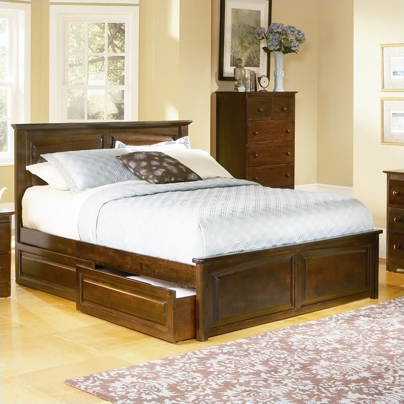 Atlantic Furniture Monterey Platform Bed with Raised Panel Footboard in Antique Walnut