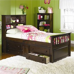 Atlantic Furniture Captain's Bookcase Bed with Underbed 4 Drawer Chest in Antique Walnut - Twin
