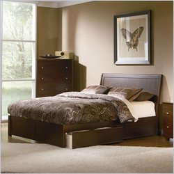 Atlantic Furniture Queen Size Studio Portland Platform Bed with Flat Panel Footboard in Antique Waln