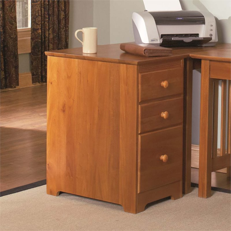 Atlantic Furniture 3 Drawer File Cabinet in Caramel Latte