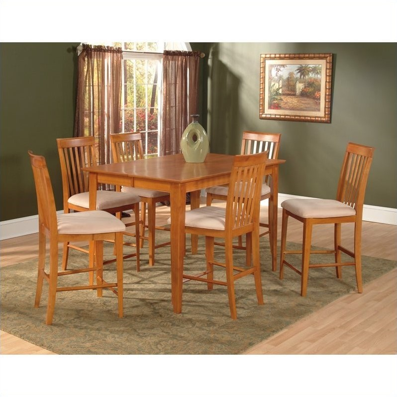Atlantic Furniture Montreal Counter Height Pub Dining Table in Caramel Latte