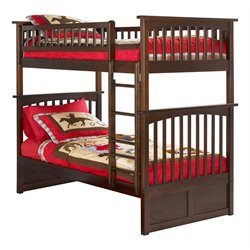 Atlantic Furniture Columbia Bunk Bed Twin over Twin in Walnut