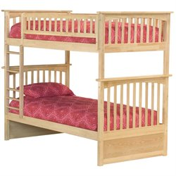 Atlantic Furniture Columbia Bunk Bed Twin over Twin in Natural