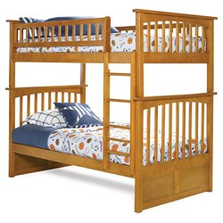 Atlantic Furniture Columbia Bunk Bed Twin over Twin in Caramel Latte