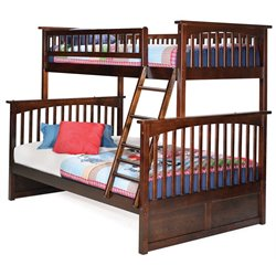 Atlantic Furniture Columbia Bunk Bed Twin over Full in Walnut