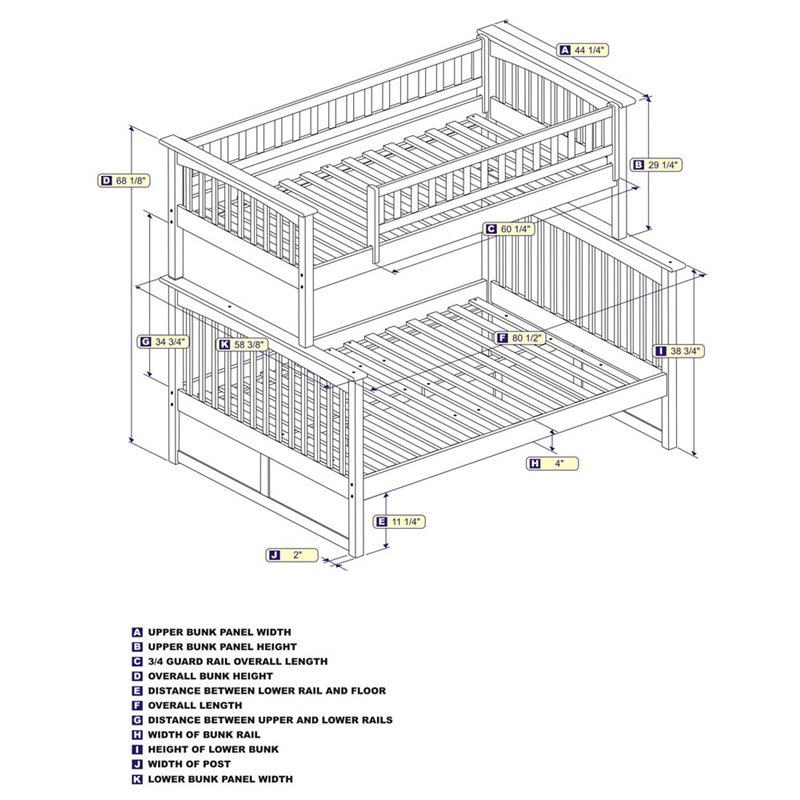 Atlantic Furniture Columbia Twin Over Full Bunk Bed in Natural