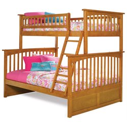 Atlantic Furniture Columbia Bunk Bed Twin over Full in Caramel Latte