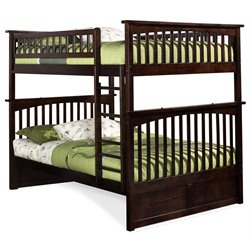 Atlantic Furniture Columbia Bunk Bed Full over Full in Walnut