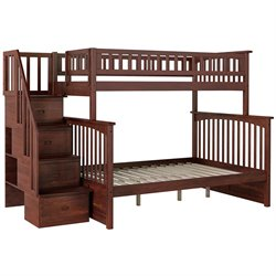 Atlantic Furniture Columbia Staircase Bunk Bed in Walnut