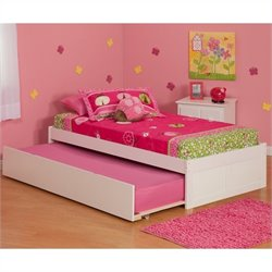 Atlantic Furniture Concord Platform Bed with Trundle in White - Twin