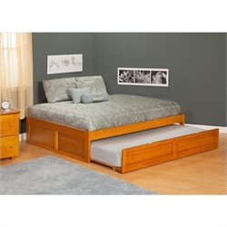 Atlantic Furniture Concord Bed with Trundle Bed in Caramel Latte - Twin Size