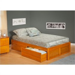 Atlantic Furniture Concord Bed with Drawers in Caramel Latte - Twin Size