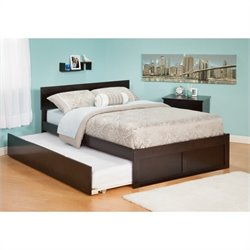 Atlantic Furniture Orlando Platform Bed with Flat Panel Footboard and Trundle Set in Espresso - Twin Size
