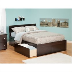 Atlantic Furniture Orlando Bed with Drawers in Espresso - Full Size