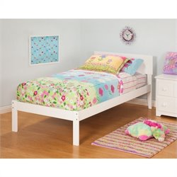 Atlantic Furniture Orlando Bed with Open Foot Rail in White Finish