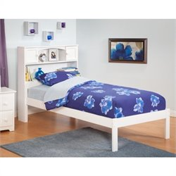 Atlantic Furniture Newport Bookcase Bed with Open Foot Rail in White - Full Size