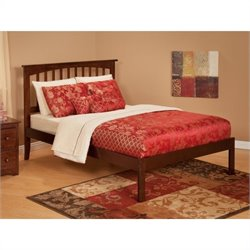 Atlantic Furniture Mission Bed with Open Foot Rail in Antique Walnut - Twin Size