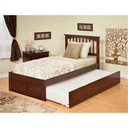 Atlantic Furniture Mission Bed with Urban Trundle in Antique Walnut - Twin Size